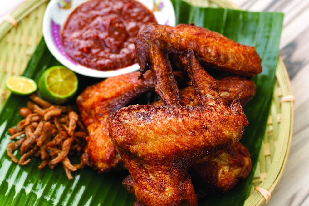 Loof's bar food menu includes Wings Lah, served with samba chilli and ikan bilis