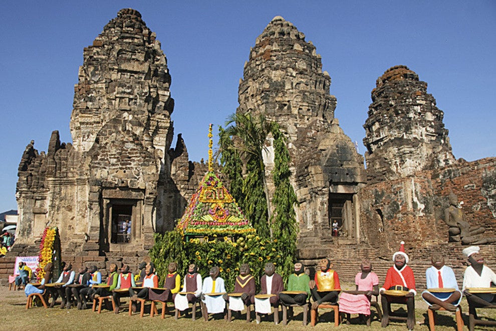 Temples and monkey statues, Lopburi