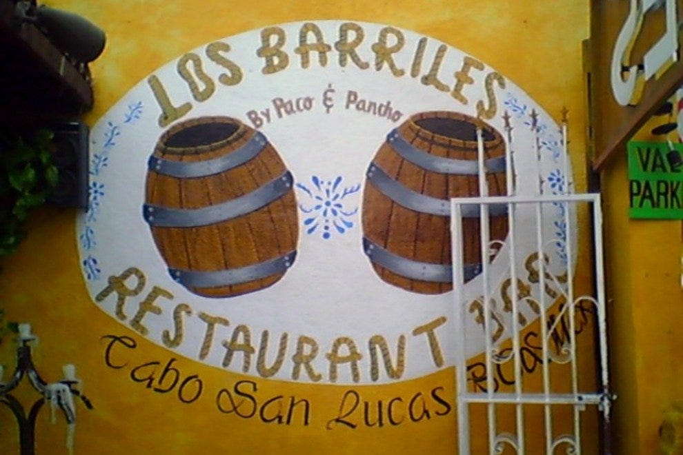 A colorful mural featuring Los Barriles' namesake barrels