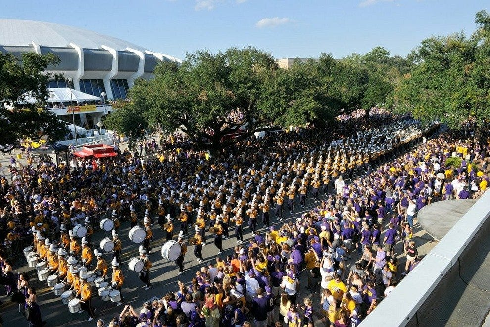 LSU Tigers gather on Victory Hill in Baton Rouge, LA