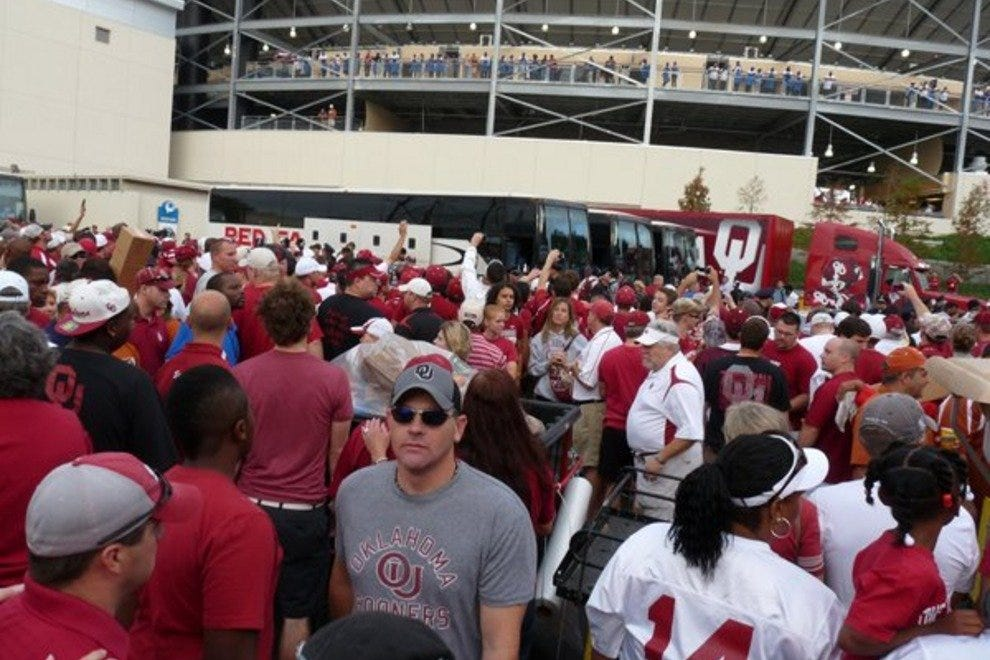 Sooners fans gather for pre-game festivities in Norman, OK