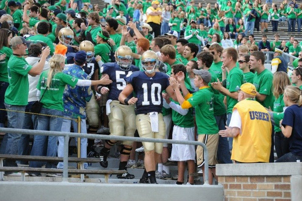 The Fighting Irish battle at Notre Dame Stadium in South Bend