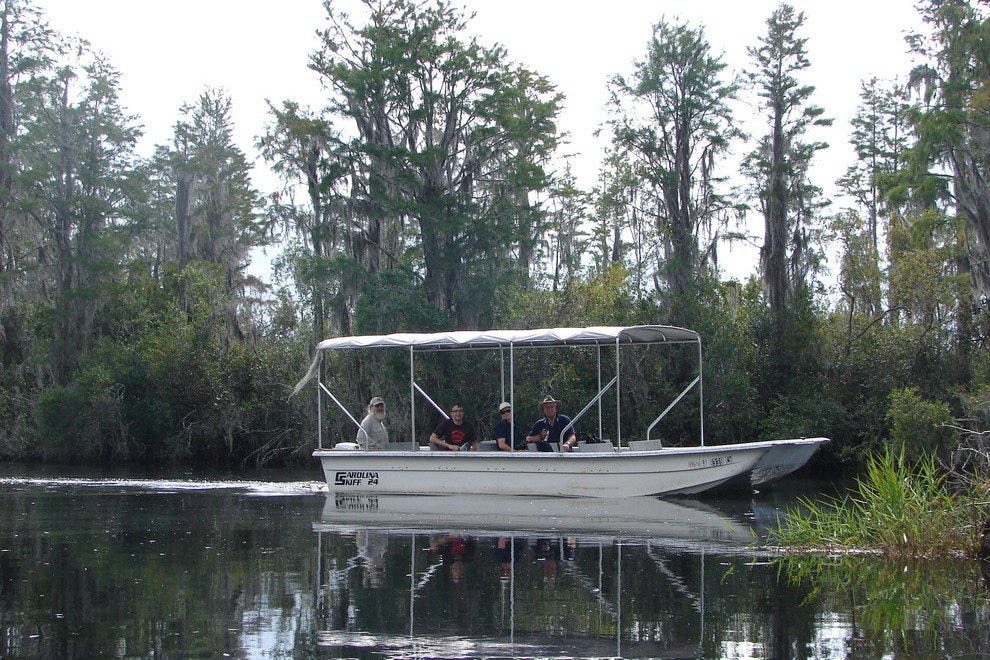Guests tour the Okefenokee on 24-foot Carolina Skiffs