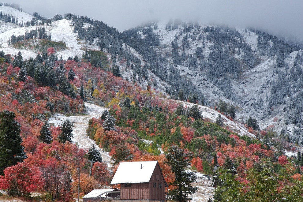 Early snow on Snowbasin in autumn
