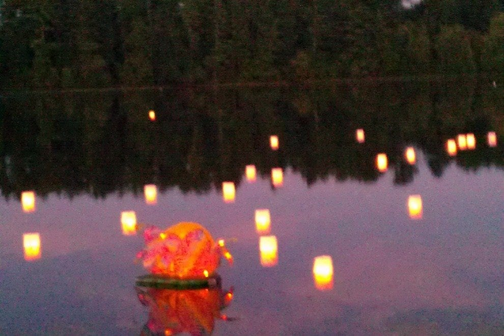 The lanterns are cast upon Knights Pond