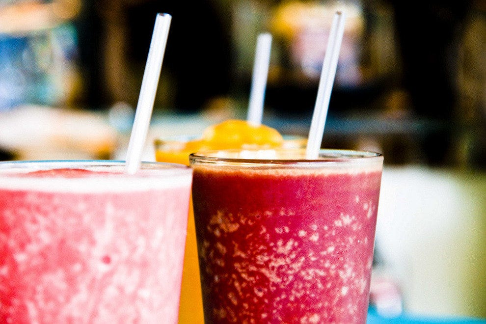 Refreshing smoothies and organic juices are on the menu at Fins.