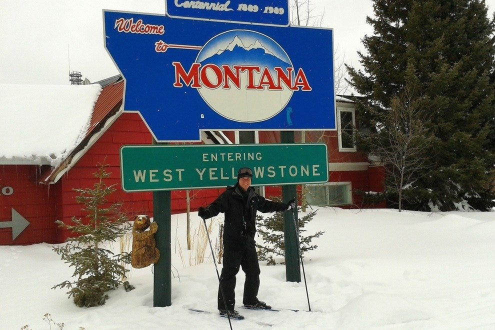 Ski into Yellowstone National Park from Montana into Idaho from the West Yellowstone Holiday Inn.