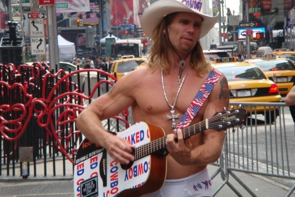 The world-famous Naked Cowboy