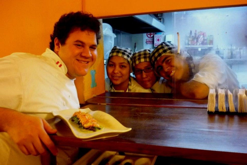 Chef Santiago Santolalla and his young crew