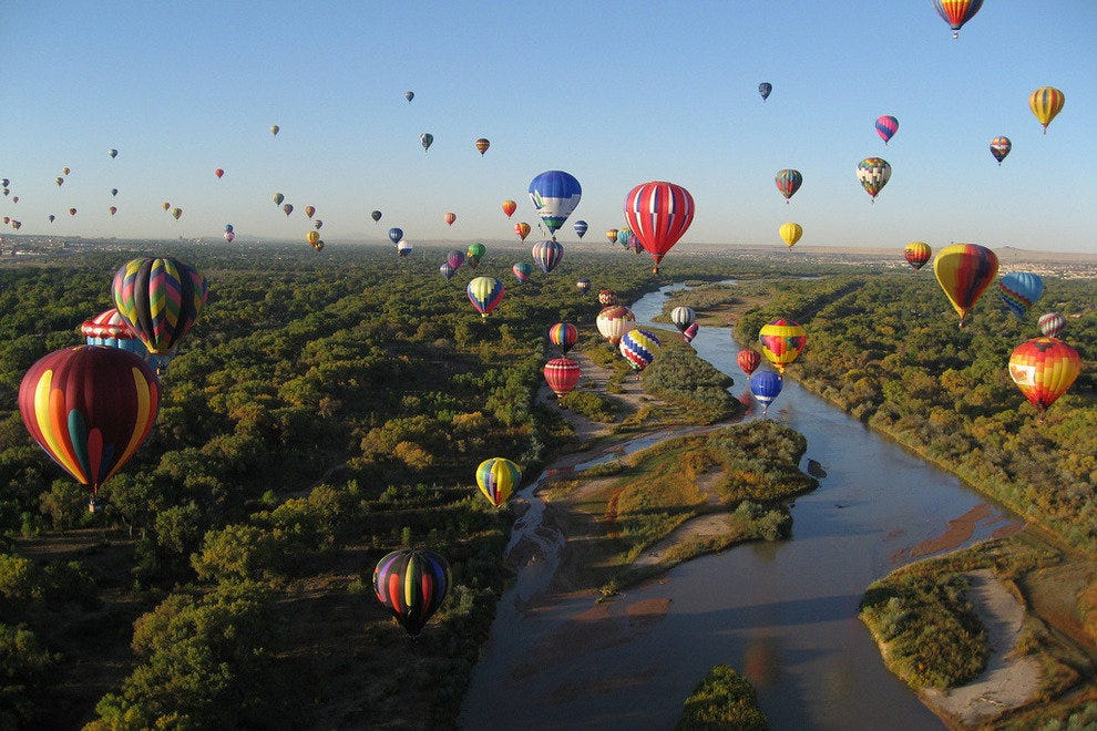 Balloons flying over the Rio Grande River