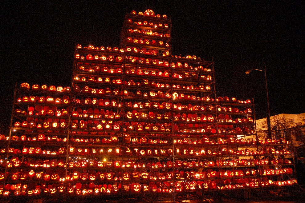 Pumpkin wall at night