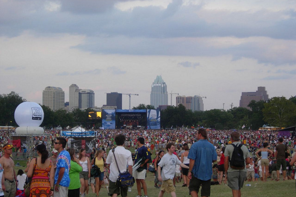 Austin skyline behind the ACL stage
