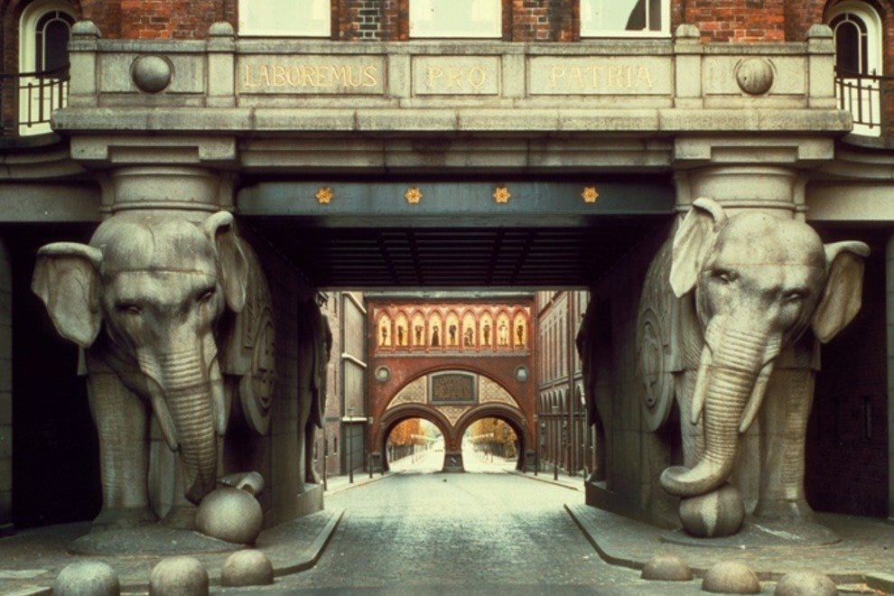 The landmark Elephant Gate at Carlsberg Brewery.