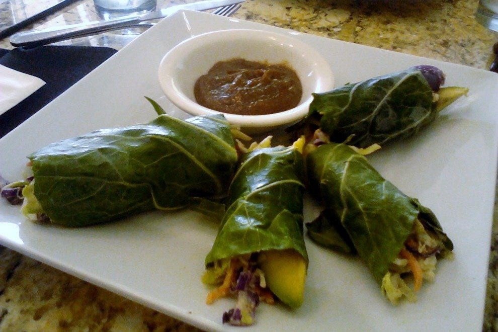 Collard greens make a creative wrap at Cafe 118˚.
