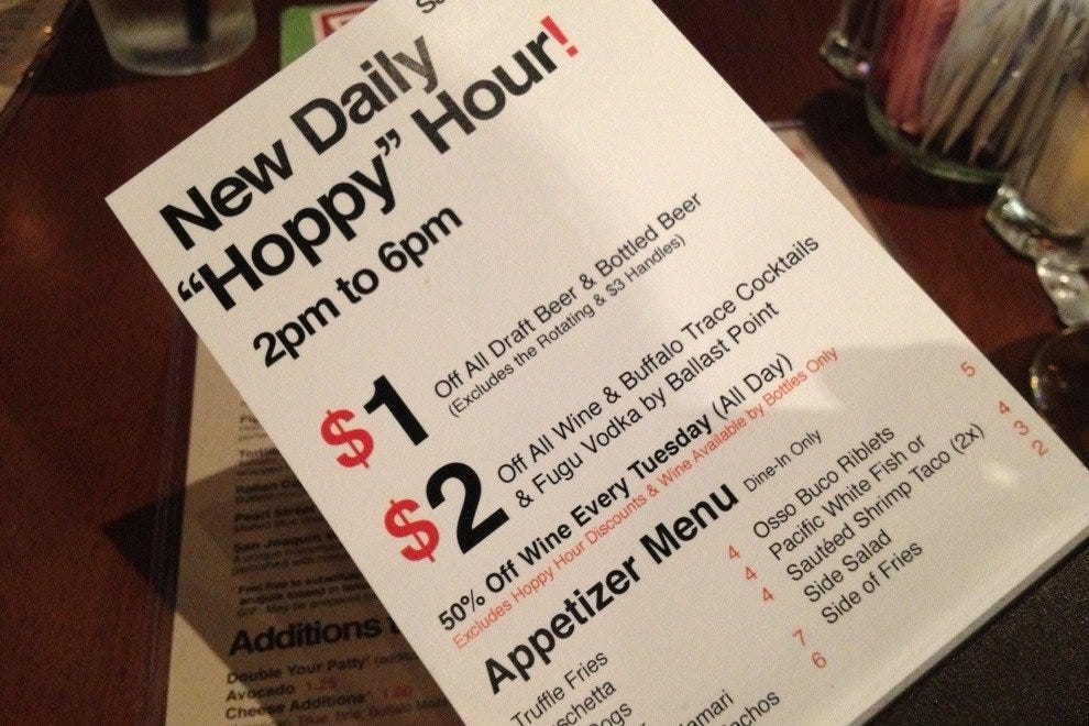 "Eureka! Burger's tasty ""Hoppy Hour"" menu."