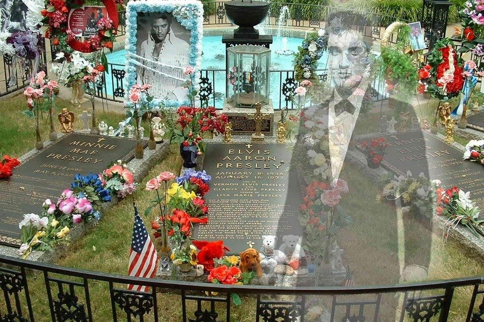 Some people swear they see the ghost of Elvis in the meditationgarden at Graceland, where he is buried alongside his parents.