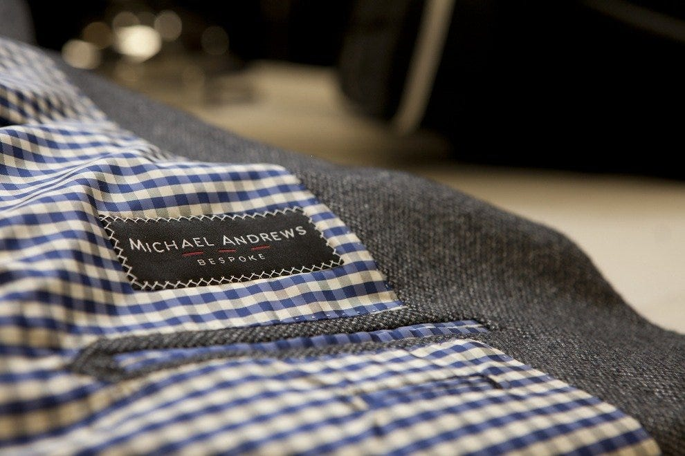 The coveted label found in Michael Andrews Bespoke clothing.