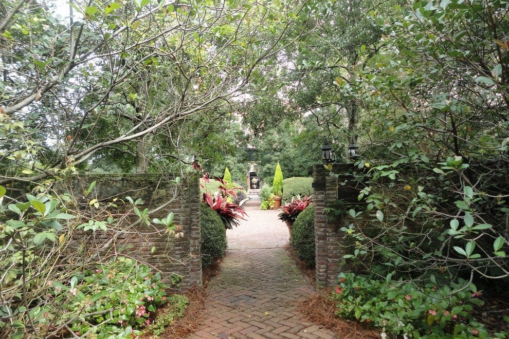 A lush path at the Ships of the Sea Maritime Museum leads to the new North Garden.