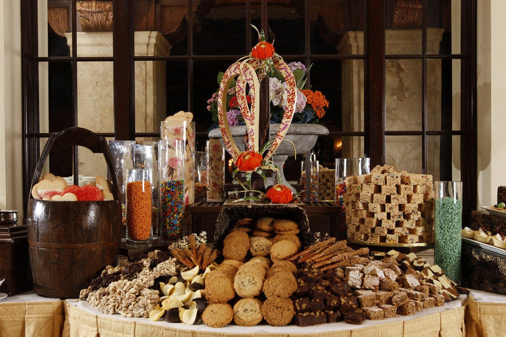 The historic Peabody Hotel's 32-foot long dessert bar awaits guests at its annual Thanksgiving Brunch