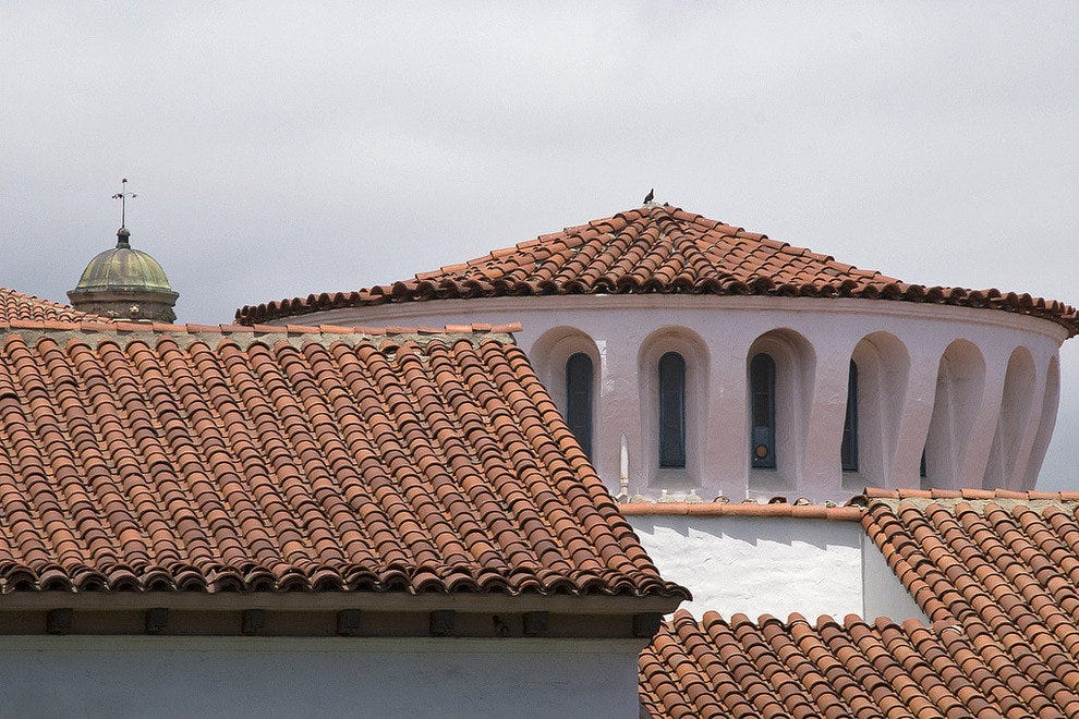 Red tile roofs are a signature of Santa Barbara architecture.