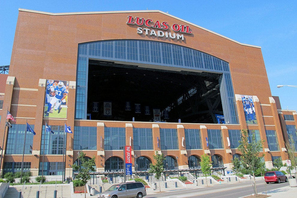 Lucas Oil Stadium with its front window opened