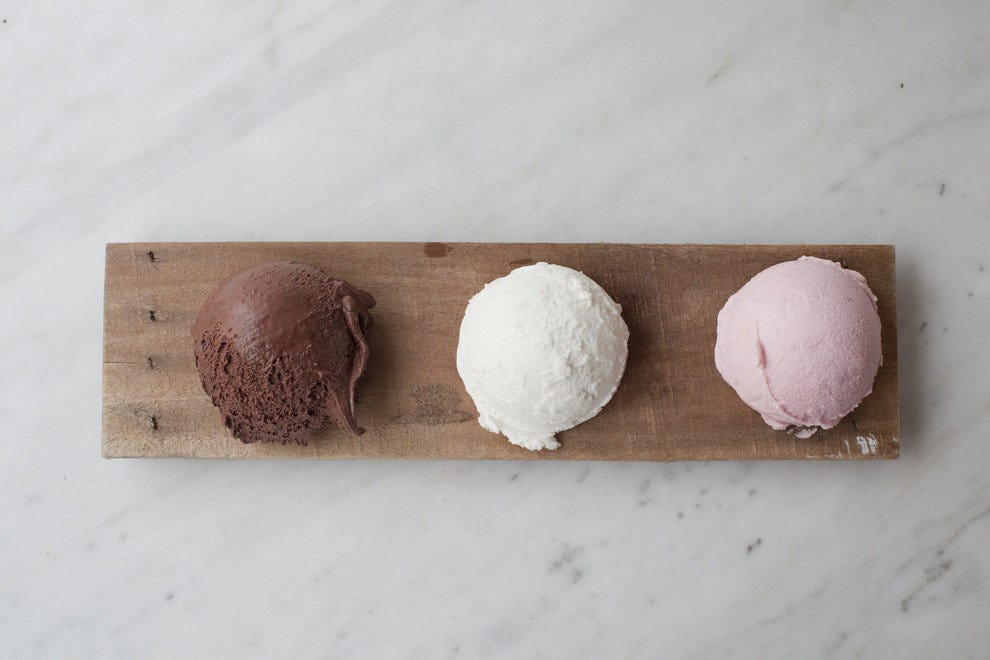 A trio of delicious flavors at Dolcezza Gelato