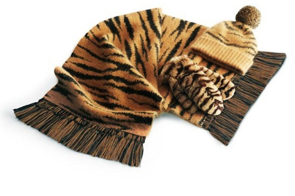 Knitted tiger stripes design on a scarf and hat