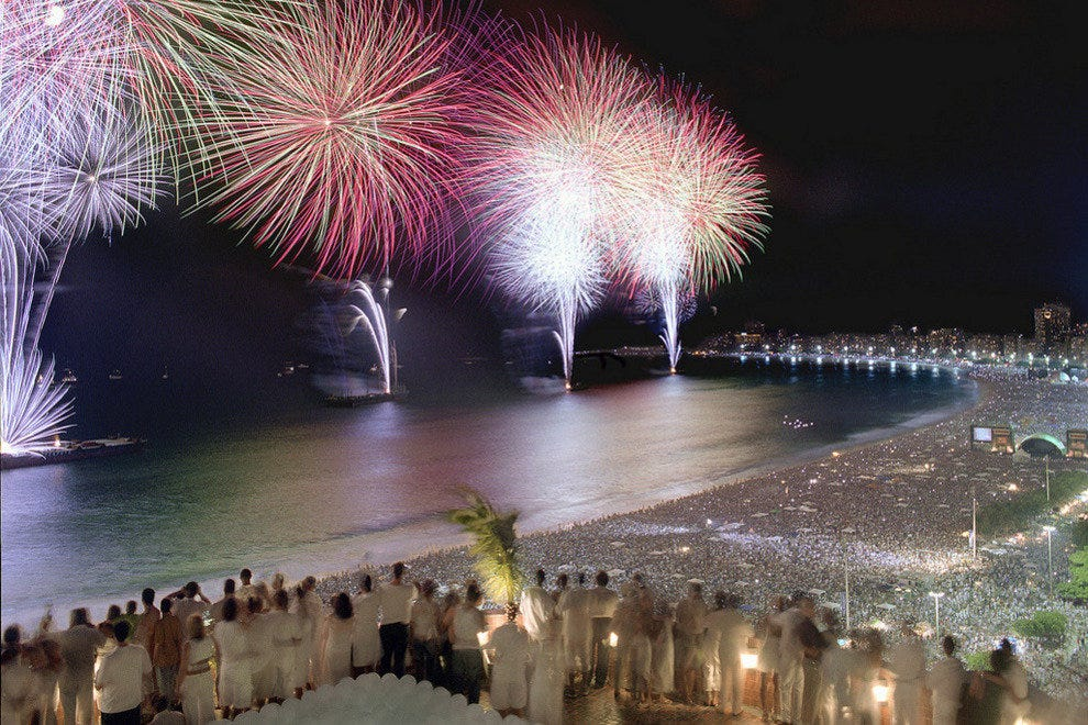 The New Year's fireworks at Copacabana are never less than impressive