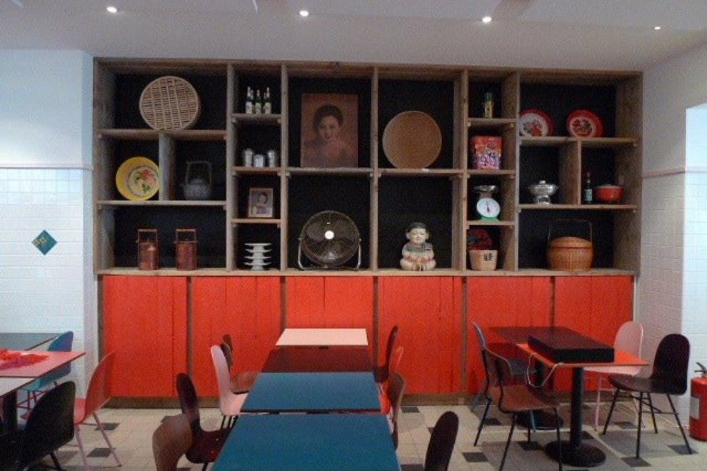 Casual yet colorful decor is key to the street kitchen dining experience at nam nam