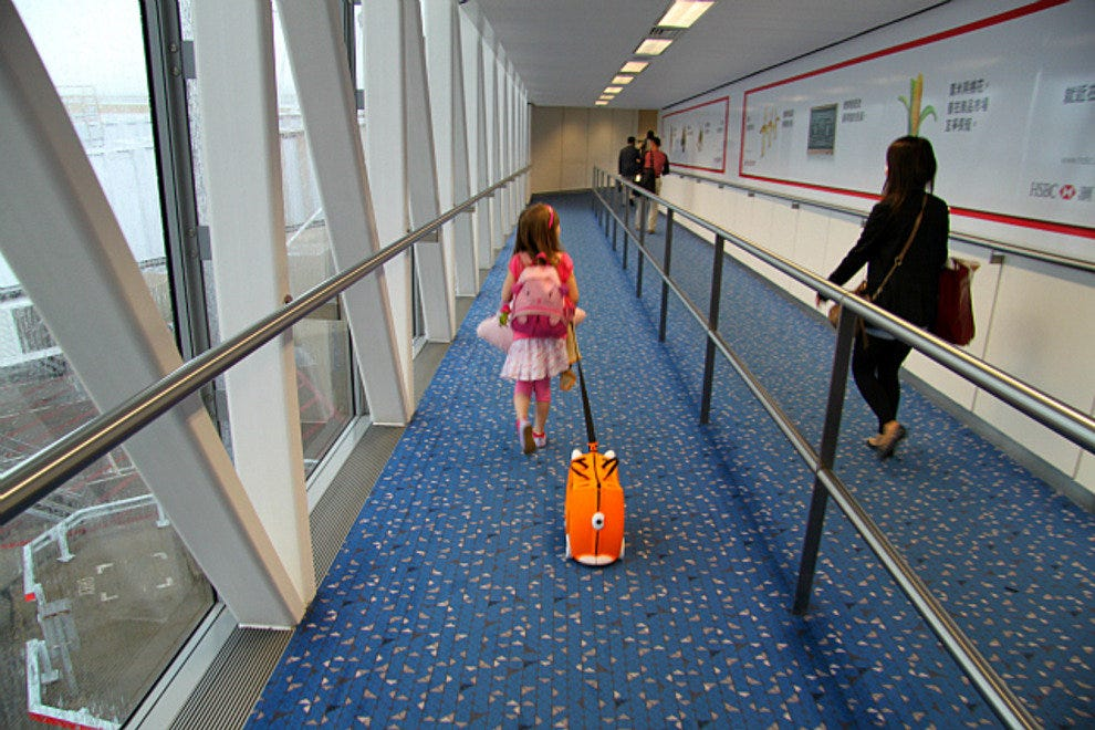 Walking down the jetway at Hong Kong International Airport