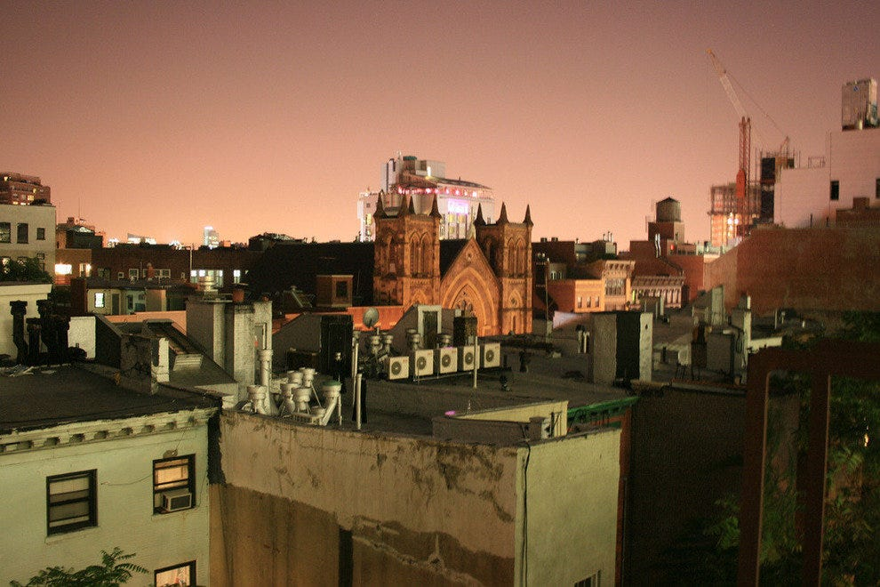 Rooftops in NYC's West Village at dusk