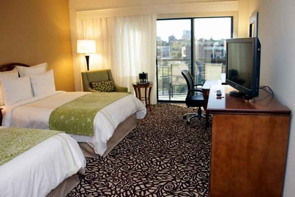 The Marriott's guestrooms feature two double beds or one king.