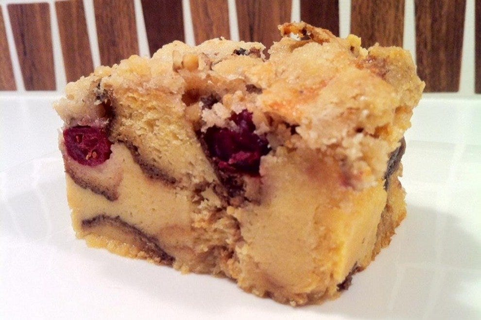 Baked apple and cranberry bread pudding