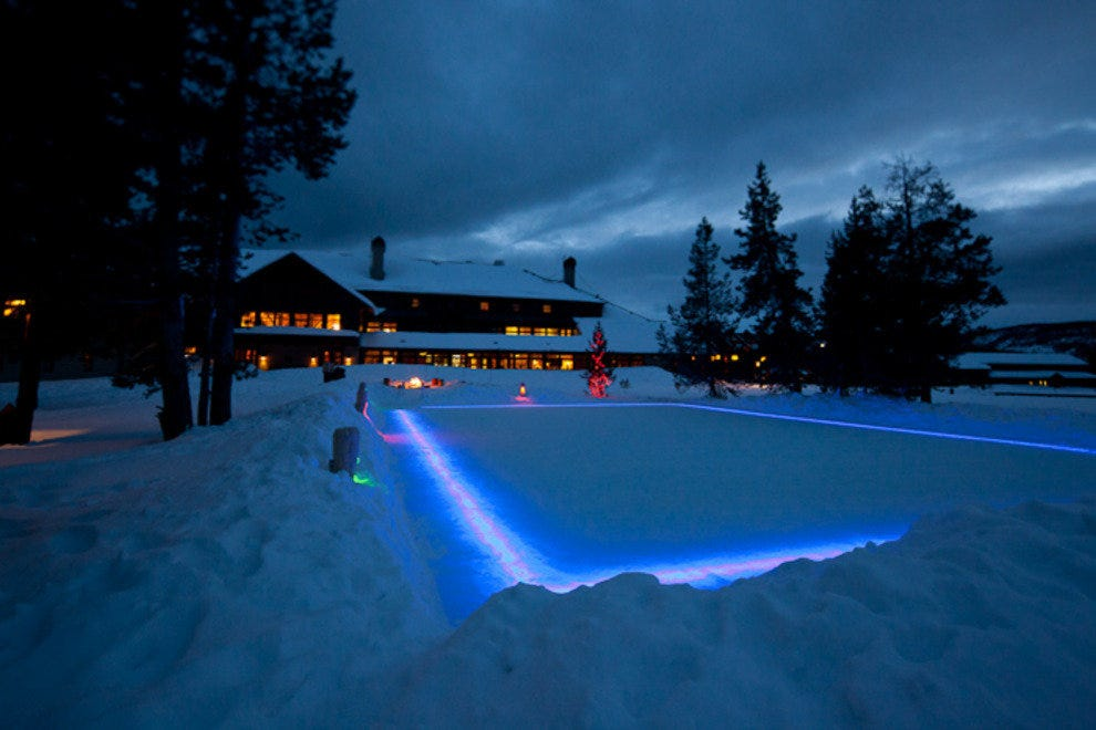 Old Faithful Snow Lodge and ice rink