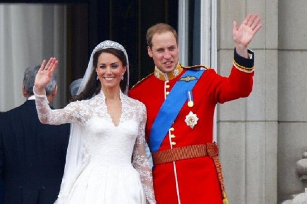 Prince William and his bride, Kate, on their wedding day