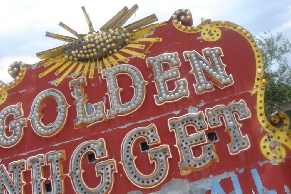 The sign from the Golden Nugget hotel