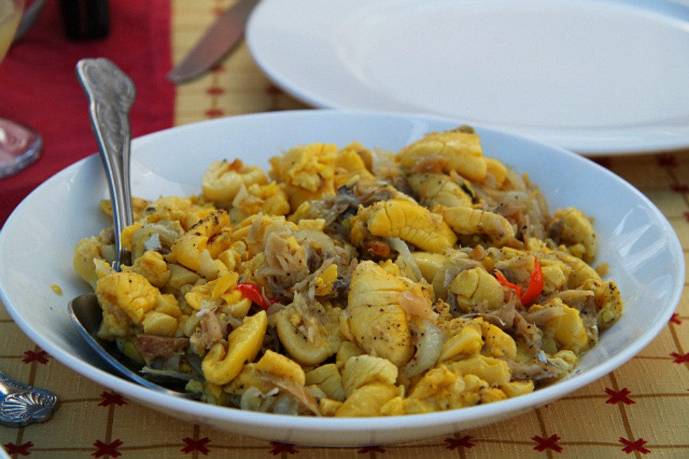 The national dish of ackee and saltfish