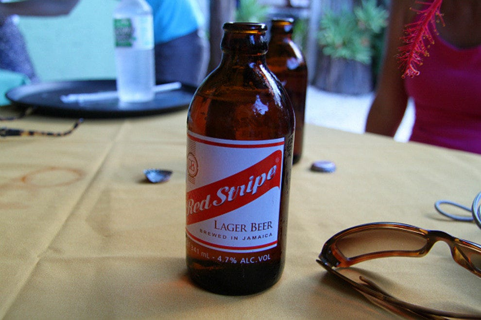 Red Stripe pairs well with jerk chicken