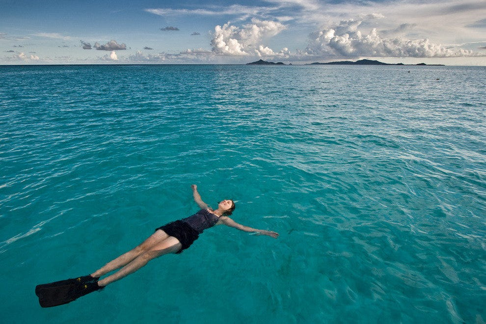 Swimming in Tobago Cays