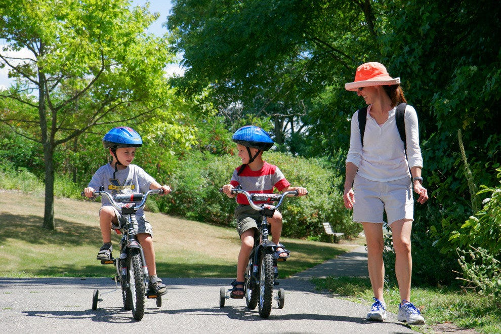 Kids and adults can enjoy the bike paths at Gallup Park in Ann Arbor, Michigan