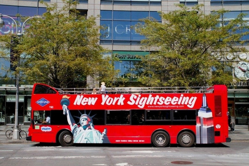 The colorful double-decker bus of Gray Line New York