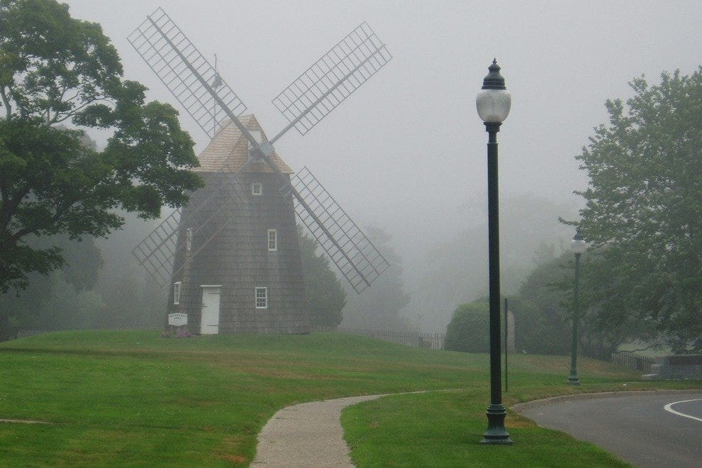 Captured in the mist, the Hook Windmill makes East Hampton feel more like Sleepy Hollow.