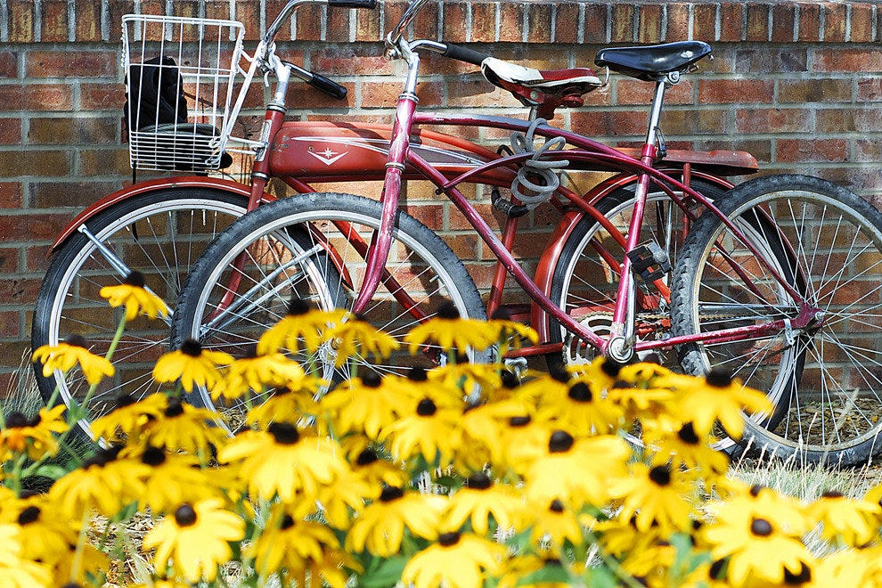 Bikes parked in Durango's downtown.
