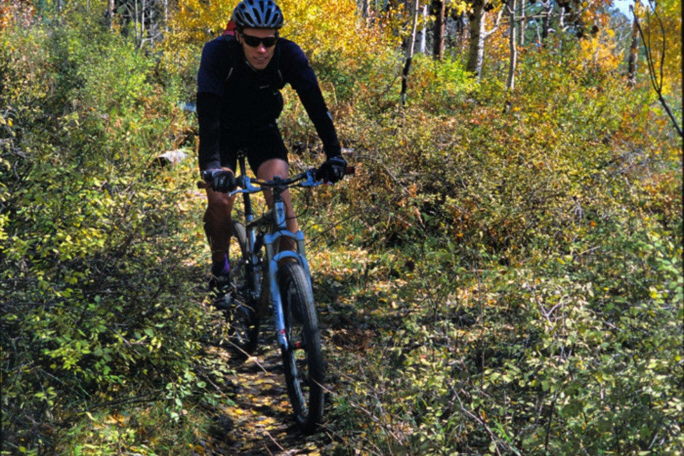 Tom Ober mountain bikes down the Colorado Trail.