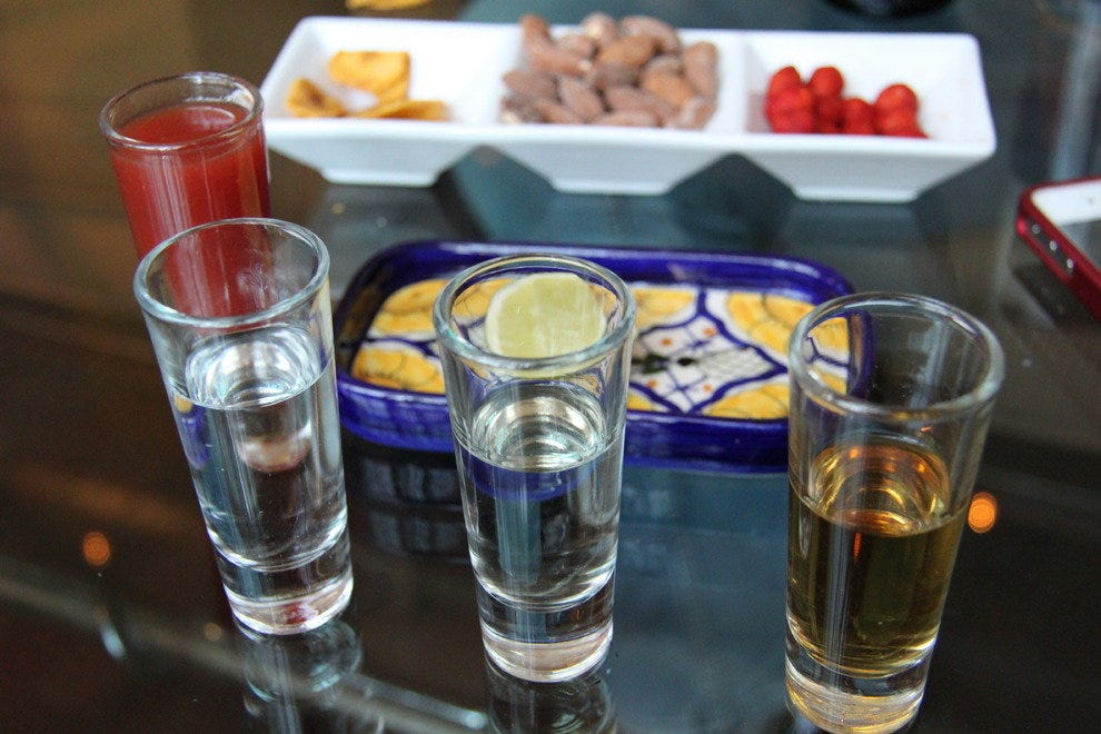 Tequila tasting set at El Bar