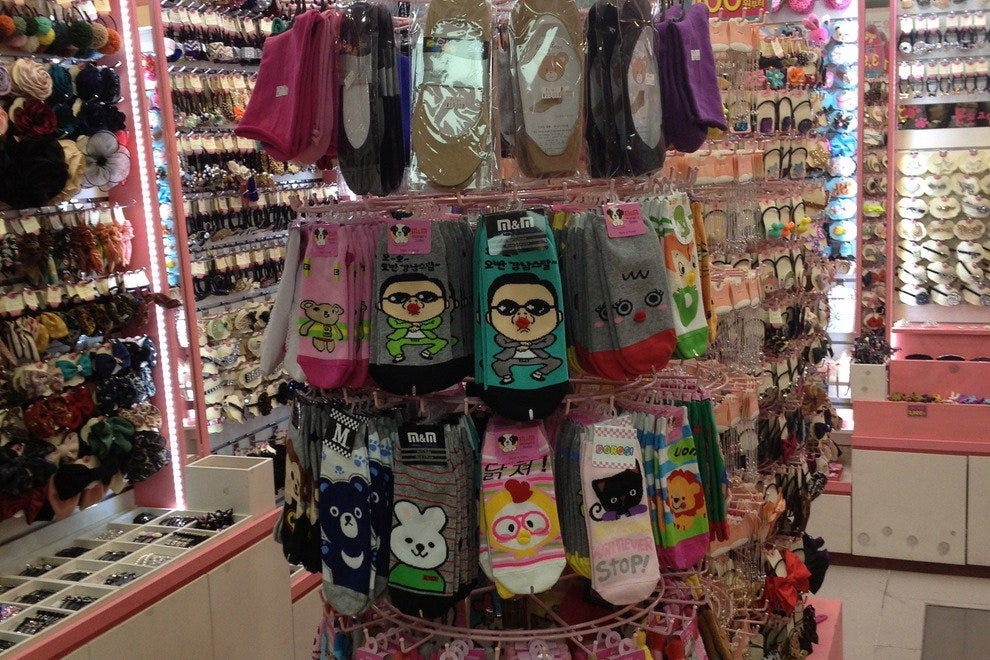 Character socks are popular items in Seoul.