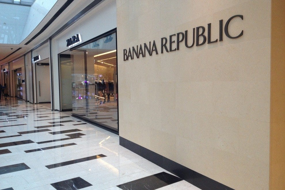 Brands like Banana Republic can be found in western-style malls like IFC.