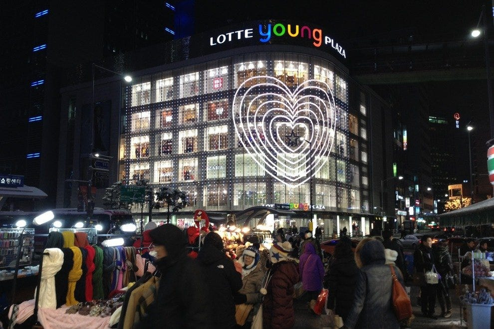The main Lotte department store location in Myeongdong