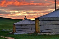 Sunset on the Mongolian Steppe