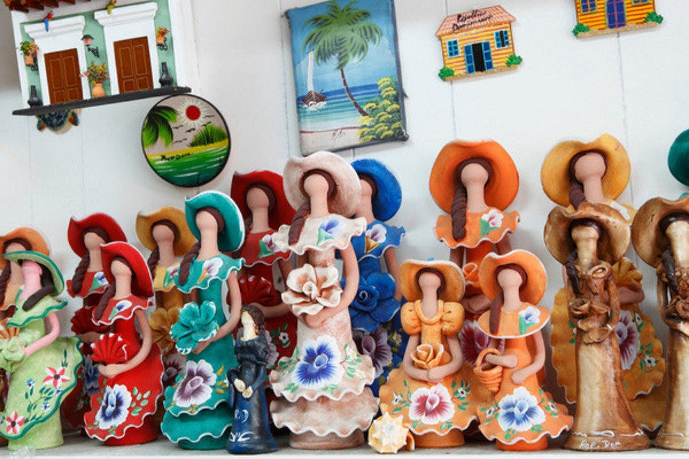 Shop for locally made goods like faceless dolls, which are said to represent every ethnic group in the Dominican Republic.